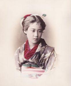 Adolfo FARSARI - Portrait de jeune fille - Tirage albuminé -Photographie japonaise ancienne
